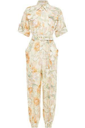 ZIMMERMANN Woman Belted Floral-print Linen Jumpsuit Ecru Size 0