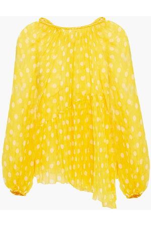 ZIMMERMANN Woman Gathered Polka-dot Silk-georgette Blouse Size 0