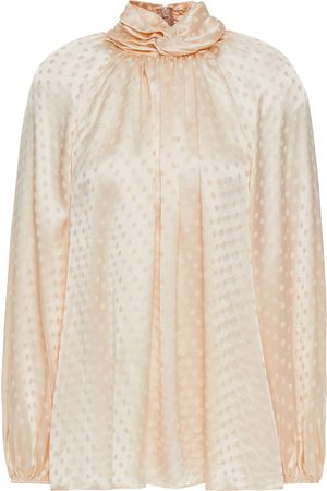 ZIMMERMANN Women Blouses - Woman Gathered Polka-dot Silk-satin Jacquard Blouse Ecru Size 0