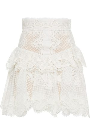 ZIMMERMANN Women Mini Skirts - Woman Ruffled Linen And Silk-blend Guipure Lace Mini Skirt Ivory Size 0