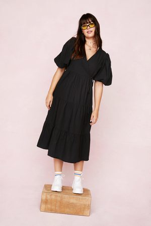 NASTY GAL Women Midi Dresses - Womens Plus Size Puff Sleeve Wrap Smock Midi Dress