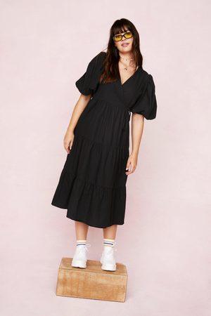 NASTY GAL Women Midi Dresses - Womens Plus Size Puff Sleeve Wrap Smock Midi Dress