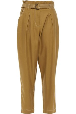 ZIMMERMANN Women Trousers - Woman Pleated Silk-crepe Tapered Pants Army Size 0