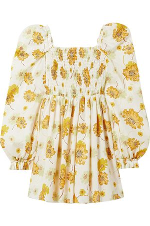 The Vampire's Wife Women Printed Dresses - Woman Mcloughland Smocked Floral-print Cotton Mini Dress Ivory Size 1