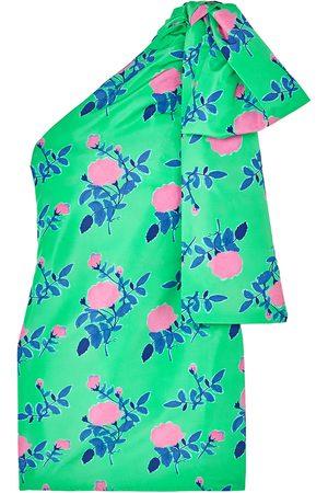 Bernadette Woman Josselin One-shoulder Draped Floral-print Taffeta Mini Dress Size 34