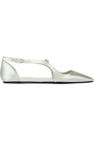 ZIMMERMANN Women Flat Shoes - Woman Satin Point-toe Flats Mint Size 38