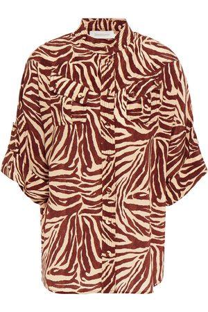 ZIMMERMANN Woman Tiger-print Silk Crepe De Chine Shirt Sand Size 0