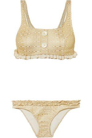 Lisa Marie Fernandez Women Bikinis - Woman Colby Ruffled Metallic Seersucker Bikini Size 1