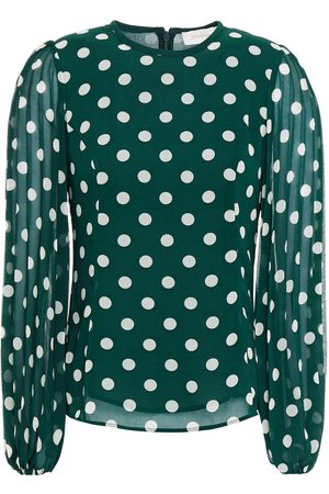 ZIMMERMANN Women Blouses - Woman Pleated Polka-dot Chiffon Blouse Emerald Size 0