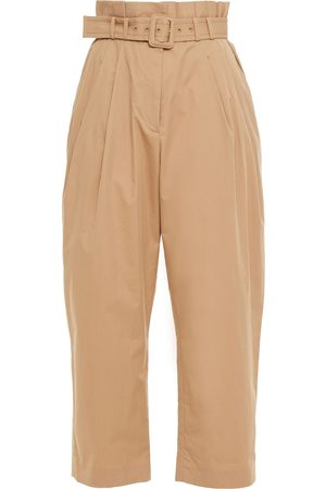 ZIMMERMANN Women Trousers - Woman Cropped Belted Cotton-blend Twill Tapered Pants Sand Size 0