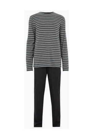 Marks & Spencer Mens Longer Length Pure Cotton Striped Pyjama Set - Mix, Mix