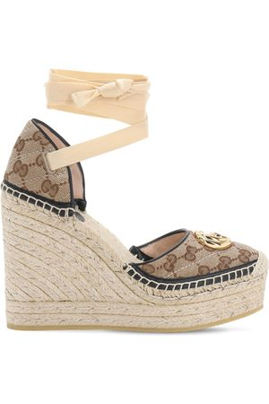 Gucci Women Wedges - 120mm Pilar Quilted Canvas Espadrilles