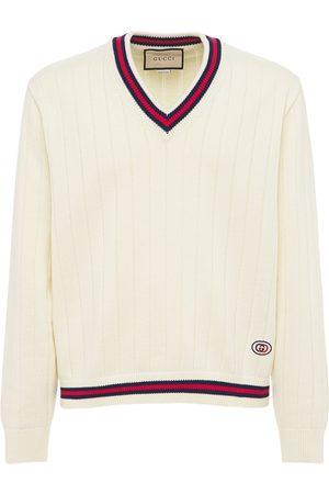 Gucci Cotton Knit V-neck Sweater W/ Web
