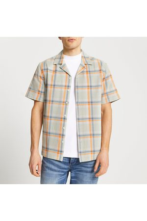 River Island Mens textured check slim fit revere shirt