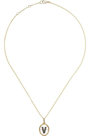Annoushka 14kt and 18kt V diamond initial pendant necklace - 18ct