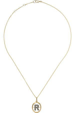 ANNOUSHKA 14kt and 18kt R diamond initial pendant necklace - 18ct