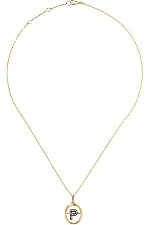 Annoushka 14kt and 18kt P diamond initial pendant necklace - 18ct