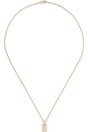 AS29 18kt rose small diamond tag necklace