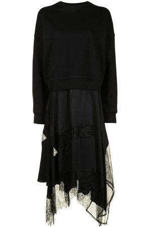 GOEN.J Sweatshirt-layered lace dress