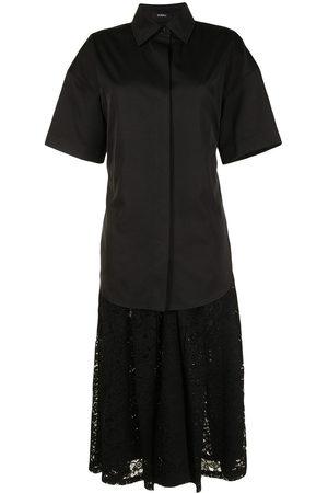 GOEN.J Shirt-layered pleated-lace dress
