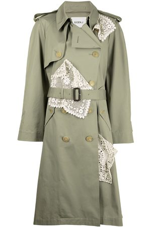 GOEN.J Supima lace-panel double-breasted trench coat