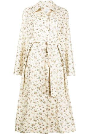 GOEN.J Floral-print trench coat - Neutrals