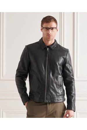 Superdry Men Leather Jackets - Indie Coach Leather Jacket