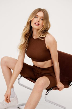 NASTY GAL Womens Seamless Crop Top and Cycling Shorts Set