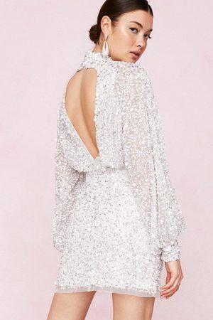 NASTY GAL Women Bodycon Dresses - Womens Bridal Balloon Sleeve Embellished Mini Dress