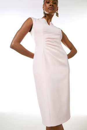 Karen Millen UK & IE Karen Millen Structured Crepe Envelope Neck Pencil Dress
