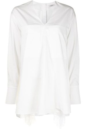 Goen.J Lace-trimmed V-neck cotton shirt