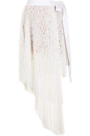 Goen.J Asymmetric pleated-lace wrap skirt