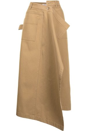 Goen.J Women Midi Skirts - Asymmetric draped-front midi skirt