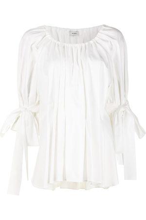 GOEN.J Bow-detail pleated blouse