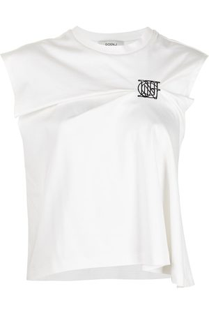 GOEN.J Logo-embroidered gathered cropped T-shirt