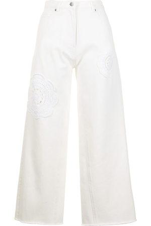 GOEN.J Crochet-detail wide-leg jeans
