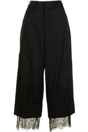 Goen.J Cropped lace-trim trousers