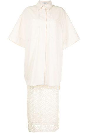 GOEN.J Oversized-layered lace shirt dress - Neutrals