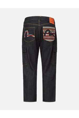 Evisu Folklore-pattern Seagull Embroidered Cargo Jeans