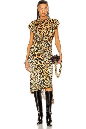 Paco rabanne Wrap Asymmetrical Dress in Leopard