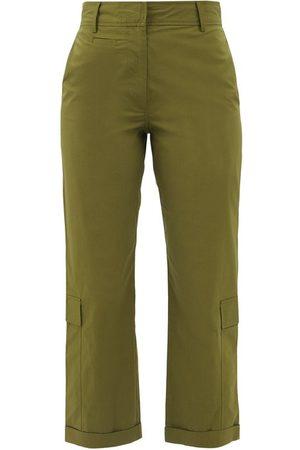 Frame High-rise Cotton-blend Straight-leg Trousers - Womens - Khaki