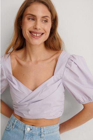 NA-KD Women Crop Tops - Organic Cotton Cropped Top - Purple