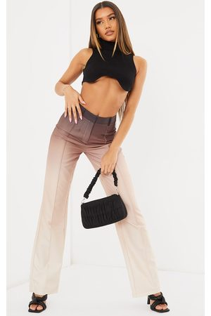 PRETTYLITTLETHING Women Formal Trousers - Taupe Ombre Woven Straight Leg Tailored Trousers