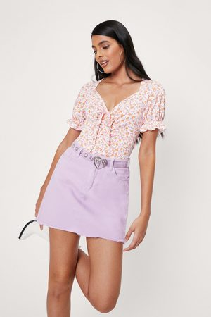 NASTY GAL Womens Ruched Floral Print Puff Sleeve Bodysuit