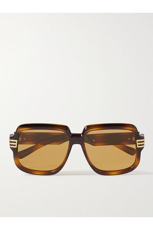 Gucci Square-Frame Tortoiseshell Acetate and Gold-Tone Sunglasses
