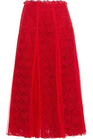 VALENTINO Women Midi Skirts - Woman Pleated Silk-chiffon And Guipure Lace Midi Skirt Size 0