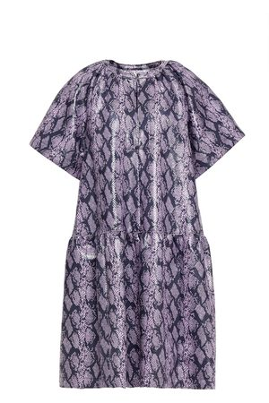 STAND STUDIO Women Printed Dresses - Woman Kaitlyn Gathered Faux Snake-effect Leather Mini Dress Lilac Size 36