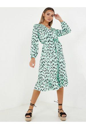 Quiz Printed Midi Dress - Green