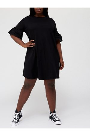 Very Broderie Sleeve Jersey Dress
