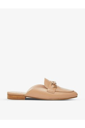 Dune Glowin snaffle trim backless leather loafers